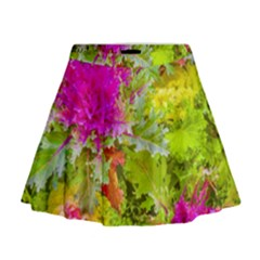 Colored Plants Photo Mini Flare Skirt