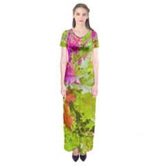 Colored Plants Photo Short Sleeve Maxi Dress