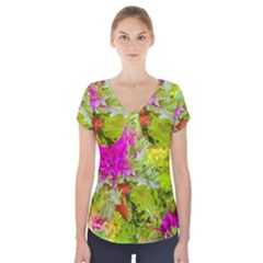 Colored Plants Photo Short Sleeve Front Detail Top