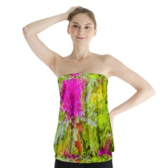 Colored Plants Photo Strapless Top