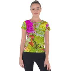 Colored Plants Photo Short Sleeve Sports Top
