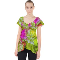 Colored Plants Photo Lace Front Dolly Top