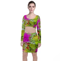 Colored Plants Photo Long Sleeve Crop Top & Bodycon Skirt Set