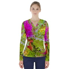 Colored Plants Photo V Neck Long Sleeve Top