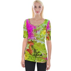 Colored Plants Photo Wide Neckline Tee