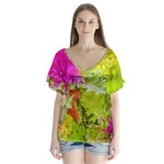 Colored Plants Photo V Neck Flutter Sleeve Top