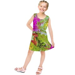Colored Plants Photo Kids  Tunic Dress