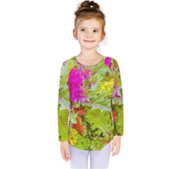 Colored Plants Photo Kids  Long Sleeve Tee
