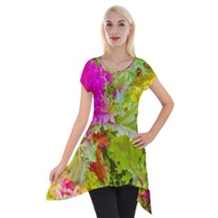 Colored Plants Photo Short Sleeve Side Drop Tunic