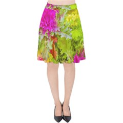 Colored Plants Photo Velvet High Waist Skirt
