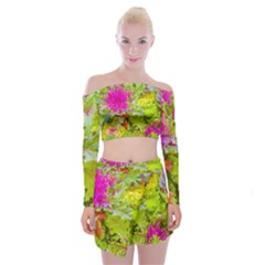 Colored Plants Photo Off Shoulder Top With Mini Skirt Set