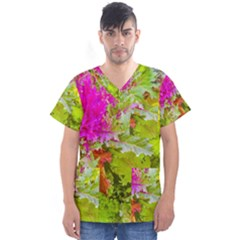 Colored Plants Photo Men s V Neck Scrub Top