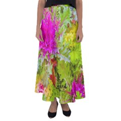 Colored Plants Photo Flared Maxi Skirt