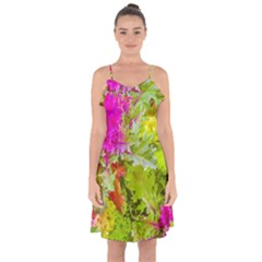 Colored Plants Photo Ruffle Detail Chiffon Dress