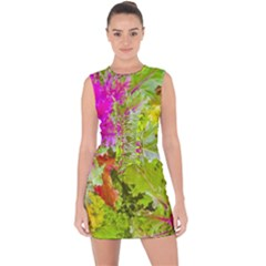 Colored Plants Photo Lace Up Front Bodycon Dress