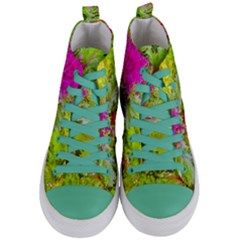 Colored Plants Photo Women s Mid Top Canvas Sneakers