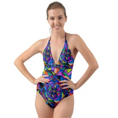 Activating Potential   Halter Cut Out One Piece Swimsuit