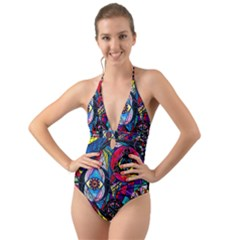 Pleiades   Halter Cut Out One Piece Swimsuit