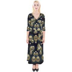 Bats In Caves In Spring Time Quarter Sleeve Wrap Maxi Dress