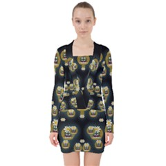 Bats In Caves In Spring Time V Neck Bodycon Long Sleeve Dress