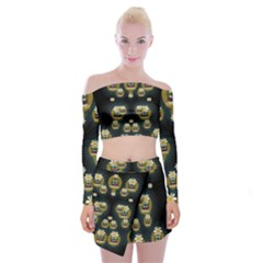 Bats In Caves In Spring Time Off Shoulder Top With Mini Skirt Set