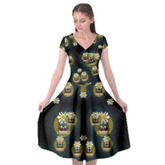 Bats In Caves In Spring Time Cap Sleeve Wrap Front Dress
