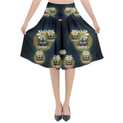 Bats In Caves In Spring Time Flared Midi Skirt