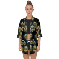 Bats In Caves In Spring Time Open Front Chiffon Kimono