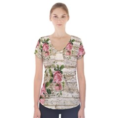 On Wood 2226067 1920 Short Sleeve Front Detail Top