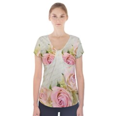 Roses 2218680 960 720 Short Sleeve Front Detail Top