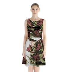 Roses 1802790 960 720 Sleeveless Waist Tie Chiffon Dress