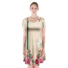 Roses 1944106 960 720 Short Sleeve V Neck Flare Dress