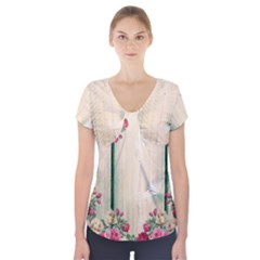 Roses 1944106 960 720 Short Sleeve Front Detail Top