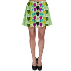 Summer Time In Lovely Hearts Skater Skirt