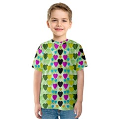 Summer Time In Lovely Hearts Kids  Sport Mesh Tee