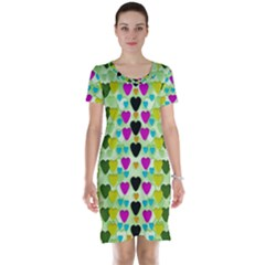 Summer Time In Lovely Hearts Short Sleeve Nightdress