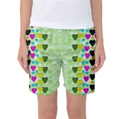 Summer Time In Lovely Hearts Women s Basketball Shorts