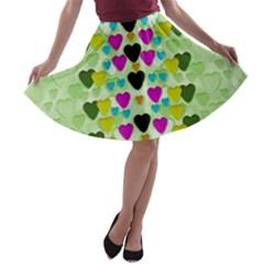 Summer Time In Lovely Hearts A Line Skater Skirt