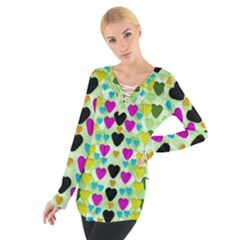 Summer Time In Lovely Hearts Tie Up Tee