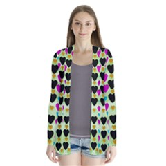 Summer Time In Lovely Hearts Drape Collar Cardigan