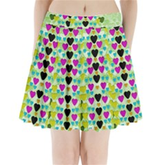 Summer Time In Lovely Hearts Pleated Mini Skirt