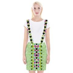 Summer Time In Lovely Hearts Braces Suspender Skirt