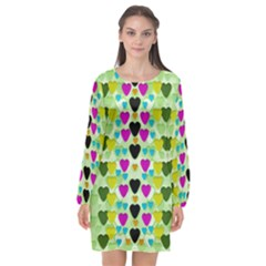 Summer Time In Lovely Hearts Long Sleeve Chiffon Shift Dress