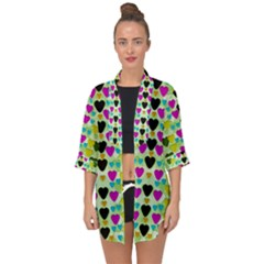 Summer Time In Lovely Hearts Open Front Chiffon Kimono
