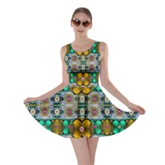 Rainbow Flowers And Decorative Peace Skater Dress