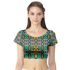 Rainbow Flowers And Decorative Peace Short Sleeve Crop Top