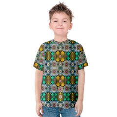 Rainbow Flowers And Decorative Peace Kids  Cotton Tee