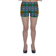 Rainbow Flowers And Decorative Peace Skinny Shorts