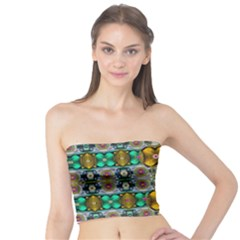 Rainbow Flowers And Decorative Peace Tube Top