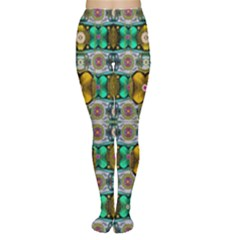Rainbow Flowers And Decorative Peace Women s Tights